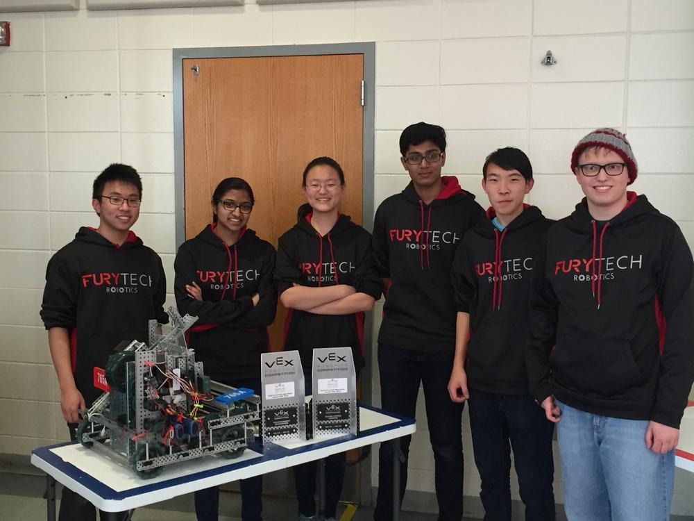 The Vex Robotics Team members from left to right are: Ray Tsa, Anjali Nambrath, Emily Liu, Arvind Yalavarti, Alex Yao, and Matt Ramina.