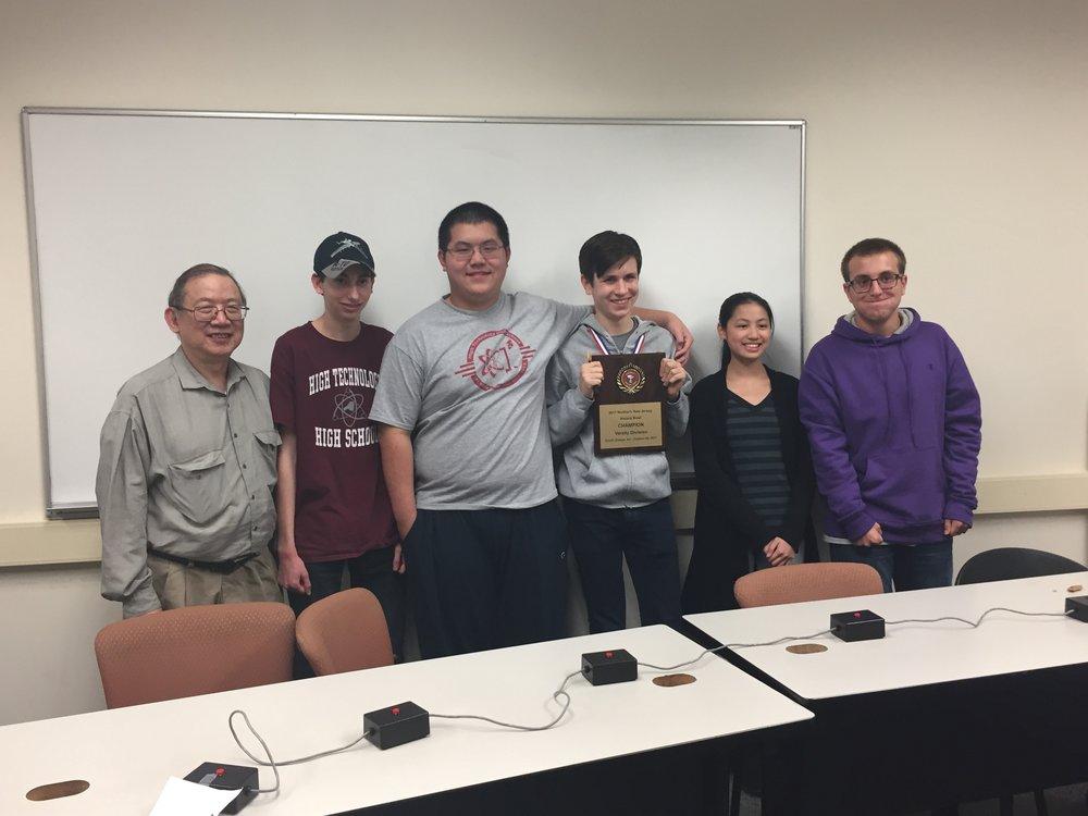 Varsity Team: Advisor Dr. Eng, Cole Snedeker, Steven Liu, Doug Simons, Anna Cai, and Darren Petrisino