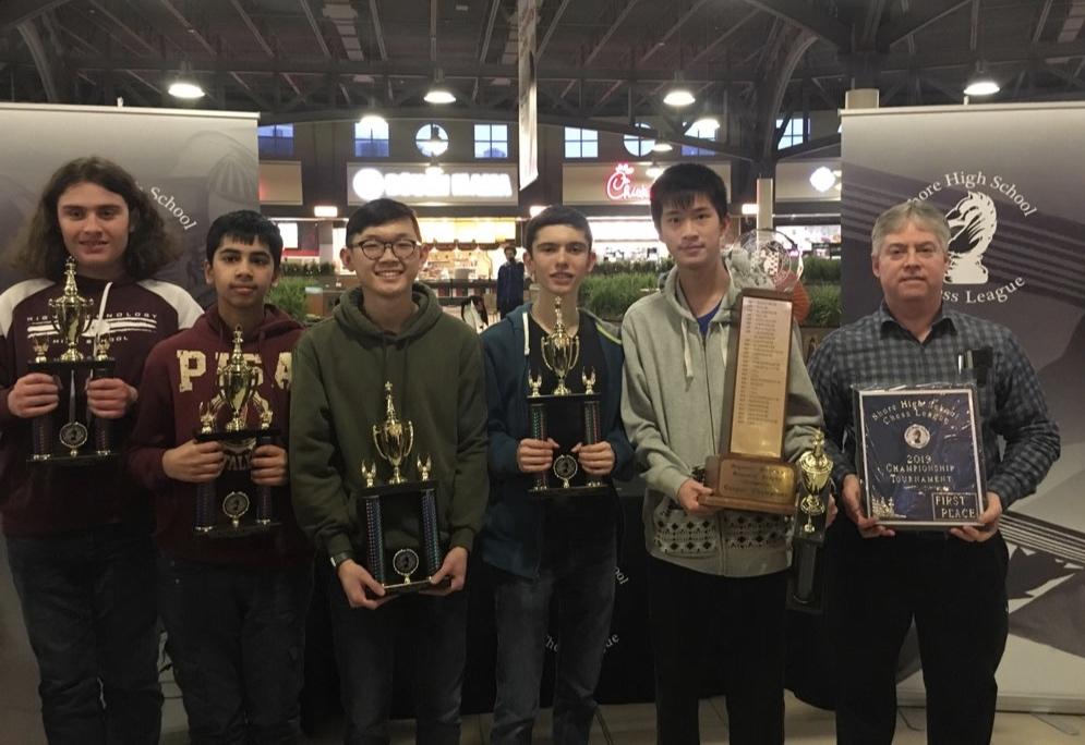 From Left to Right: Alexander Postovskiy, Varun Tupuri, Eric Chai, Andrew Mascillaro, Jason Yan, and Mr. Bartlett .