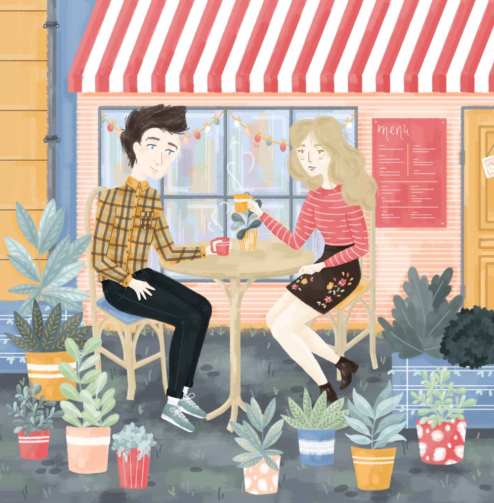 Illustrated couple sitting outside of a cafe surrounding by plants, bold colours.
