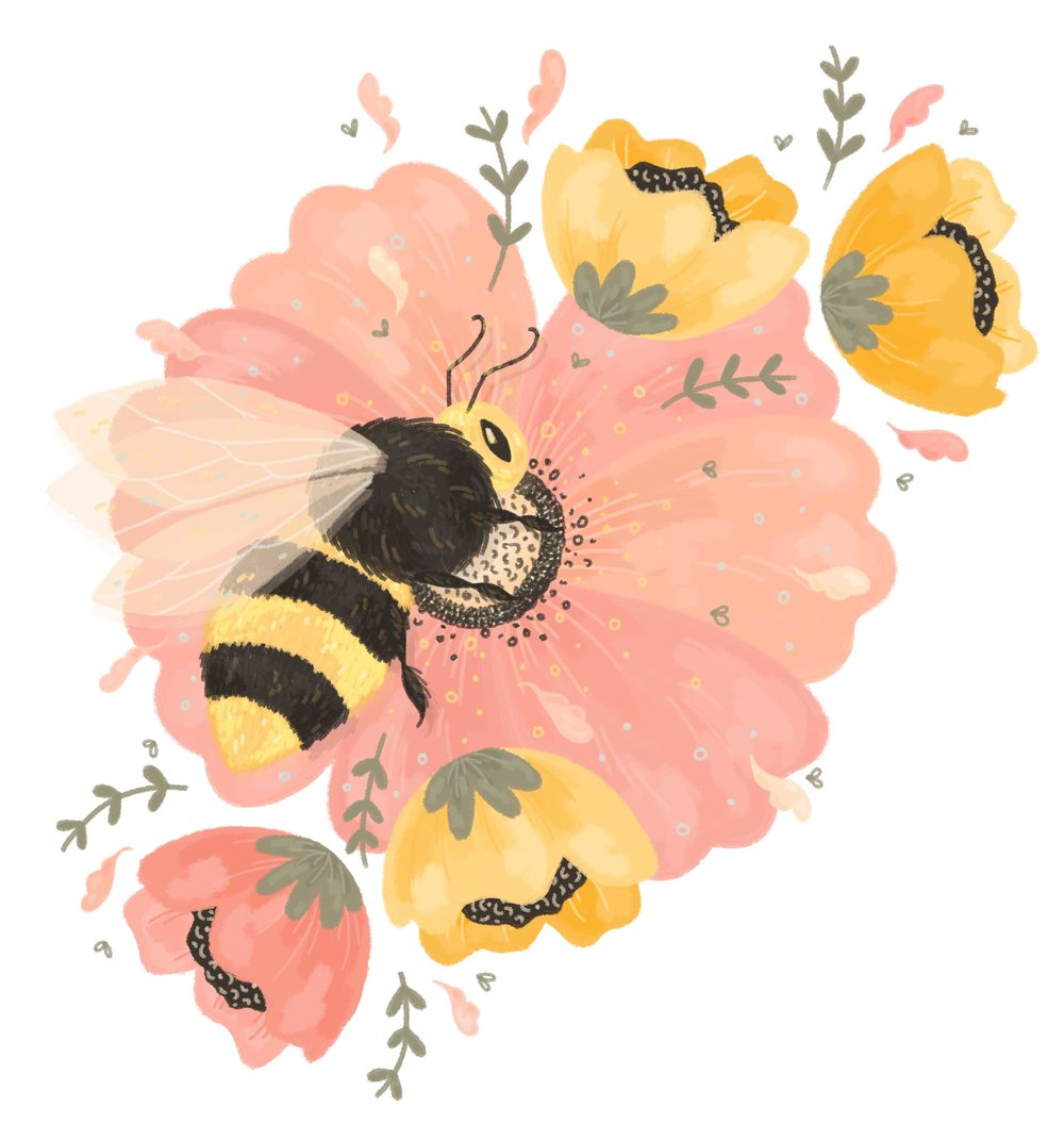 Bee on a pink flower illustration.