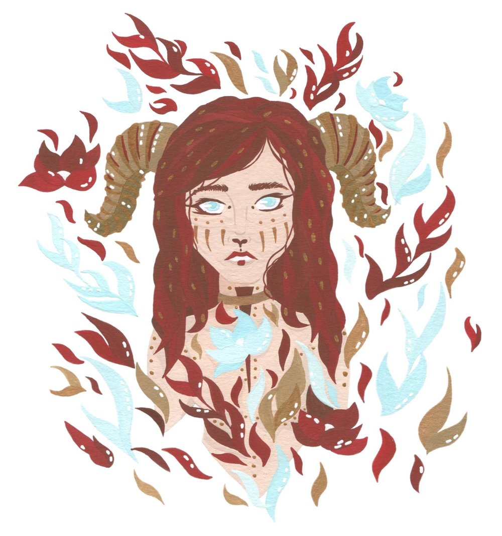 Illustrated women with horns and tribal makeup with leaves and flowers.