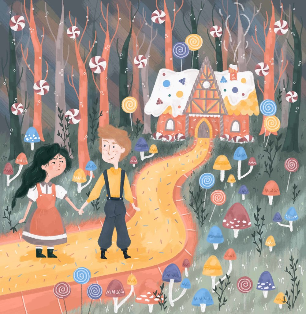 Hansel and Gretel illustration, in a forest covered in sweets, with a candy house.