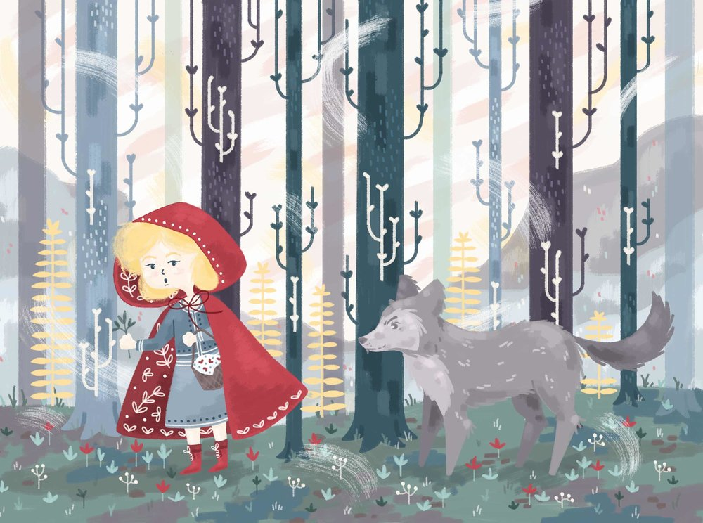 Little Red Riding Hood illustration, girl in the forest with Wolf following,