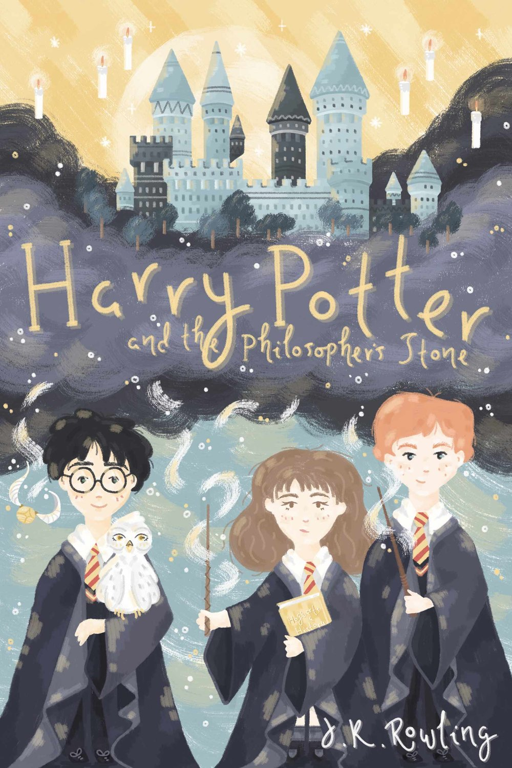 Harry Potter book cover design, with Harry, Ron and Hermione, Hogwarts in the background.