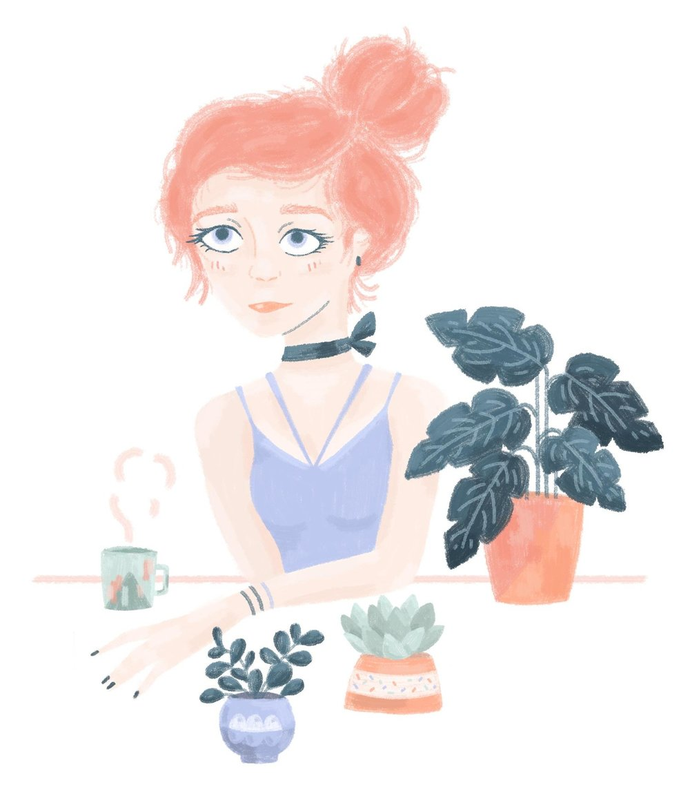 Illustrated women sitting at table with plants and coffee.