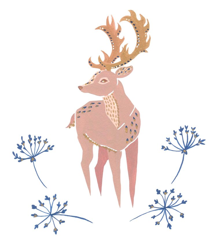 Illustrated deer with florals and gold embellishments.