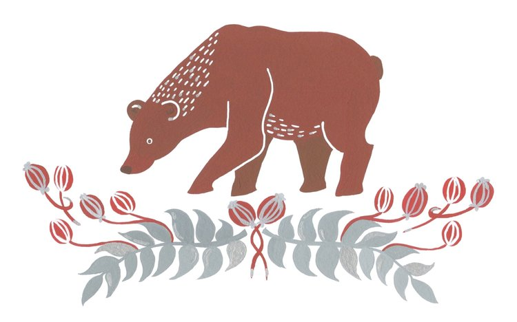 Illustrated bear with flowers.