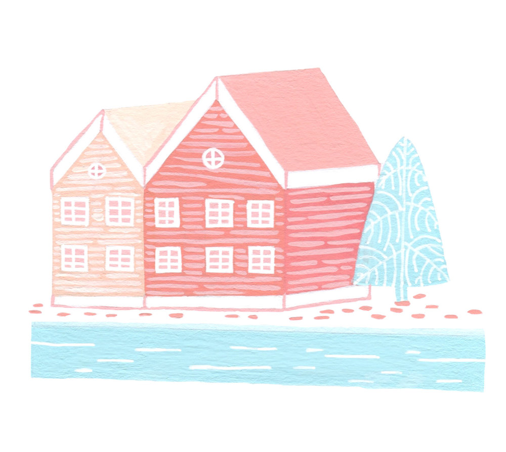 Coral House in front of a river in Copenhagen illustration.