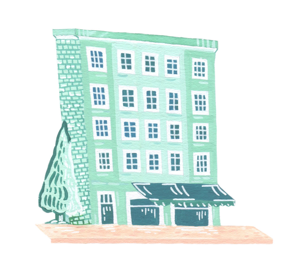 Illustrated mint house in Stockholm.