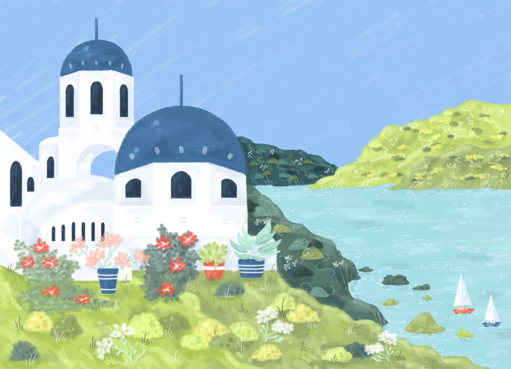 Greece landscape illustration, white buildings with blue domes, mountains in the background and sea and sun.