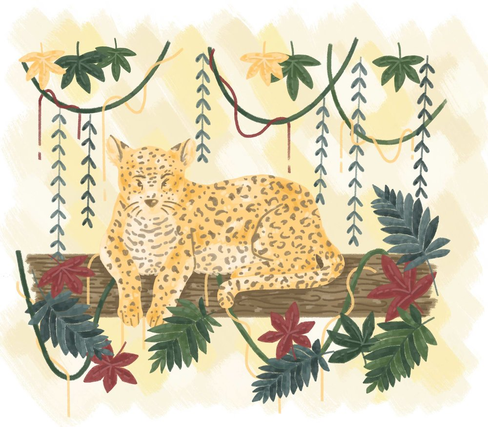 Leopard sitting in tree in jungle illustration.