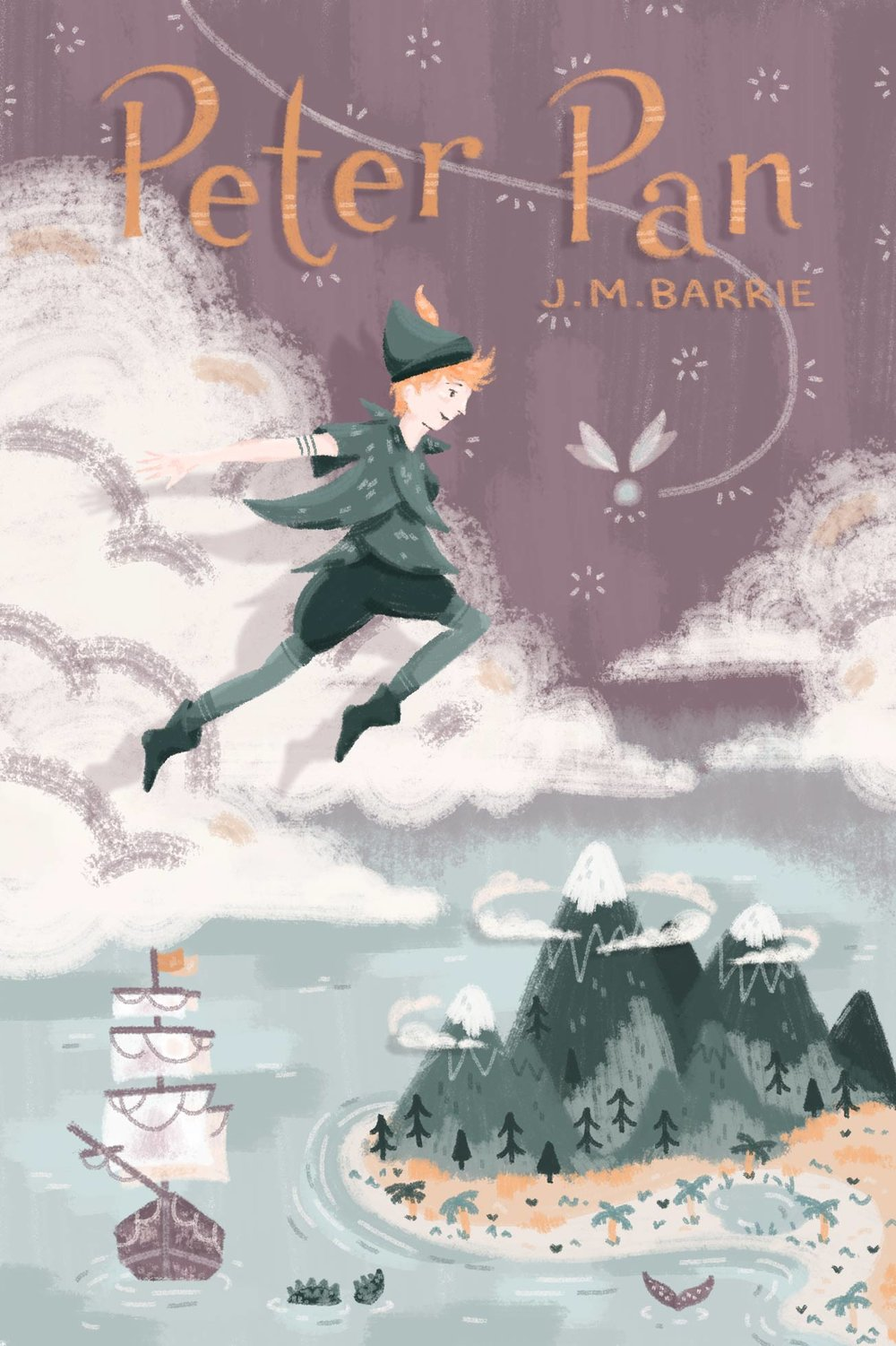Illustrated Peter Pan book cover, Peter flying over Neverland.