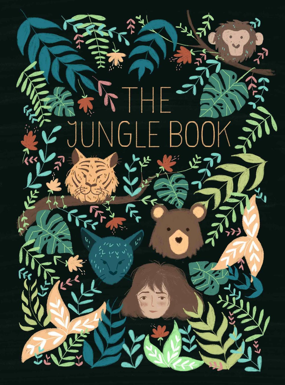 Illustrated The Jungle Book book cover, characters in the jungle.