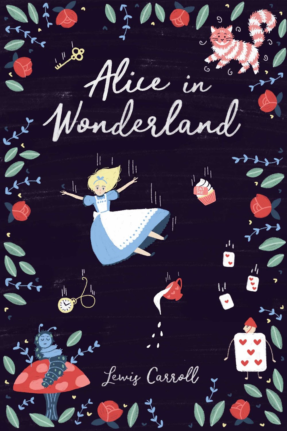 Illustrated Alice in Wonderland book cover, Alice falling into Wonderland with the Chester Cat.
