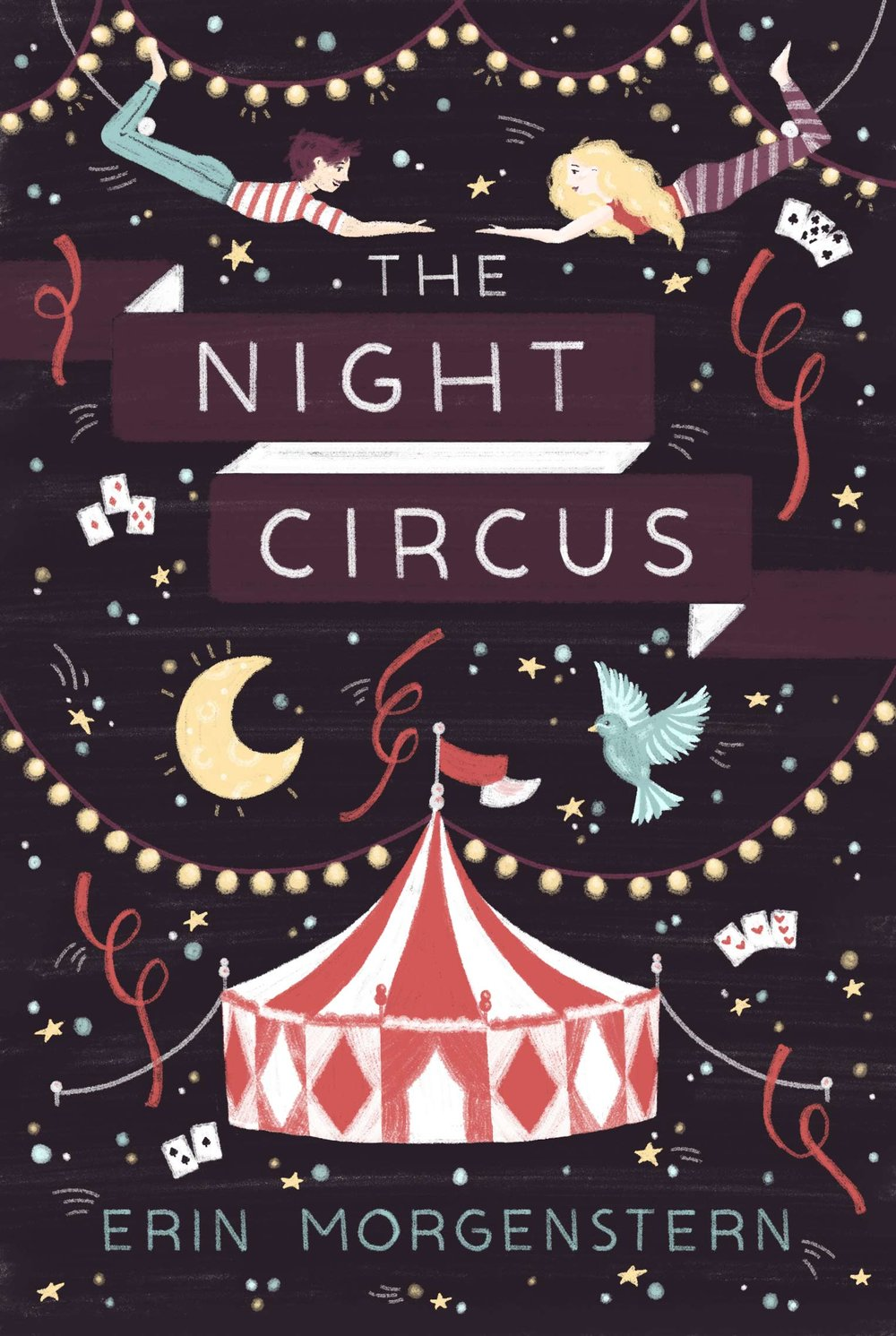 Illustrated The Night Circus book cover, circus tent and acrobats.