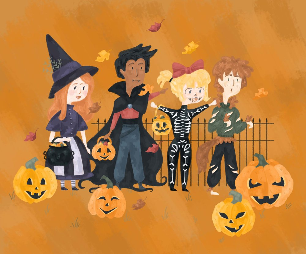 Halloween illustration, children dressed up as a witch, vampire, skeleton and werewolf with pumpkins.