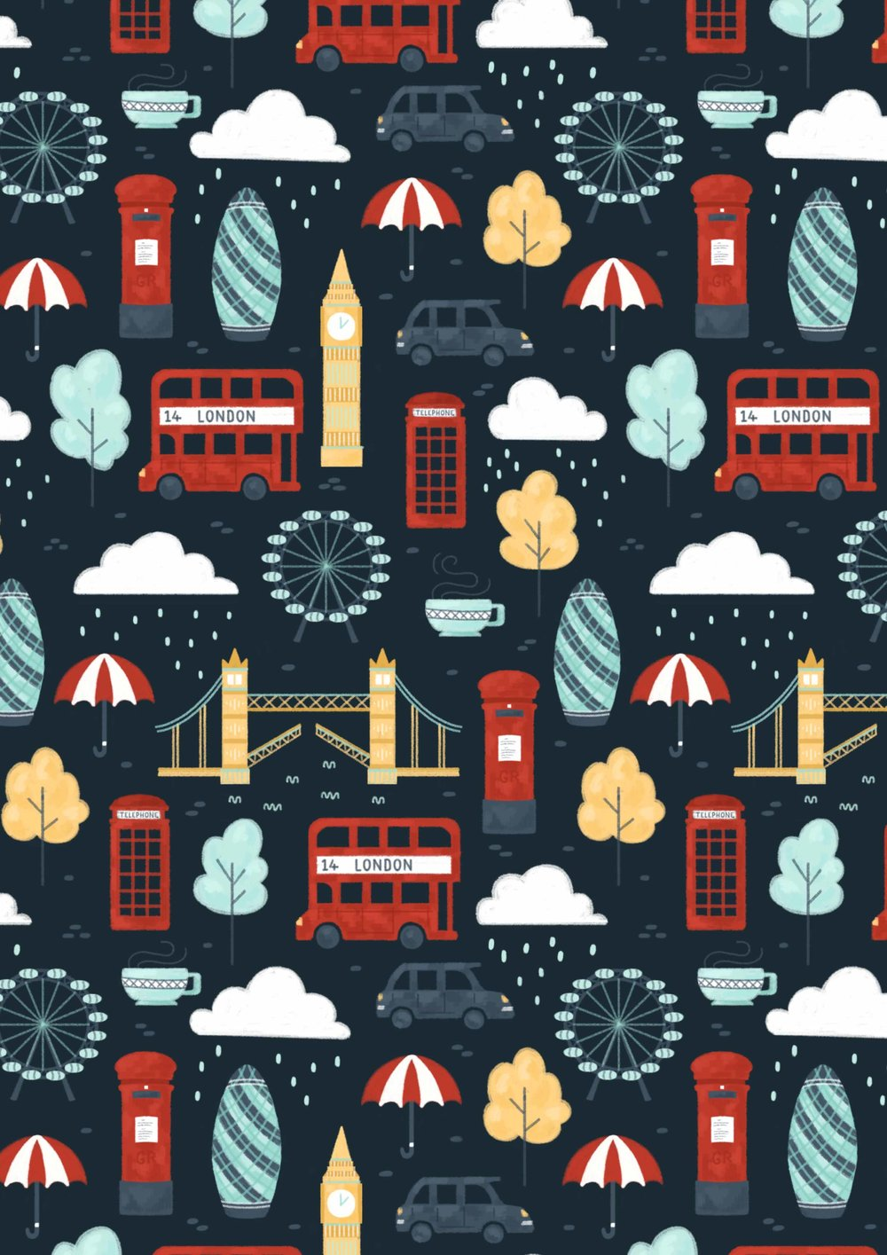 Illustrated London pattern, with London Bridge, Big Ben, taxis, buses and mail box.