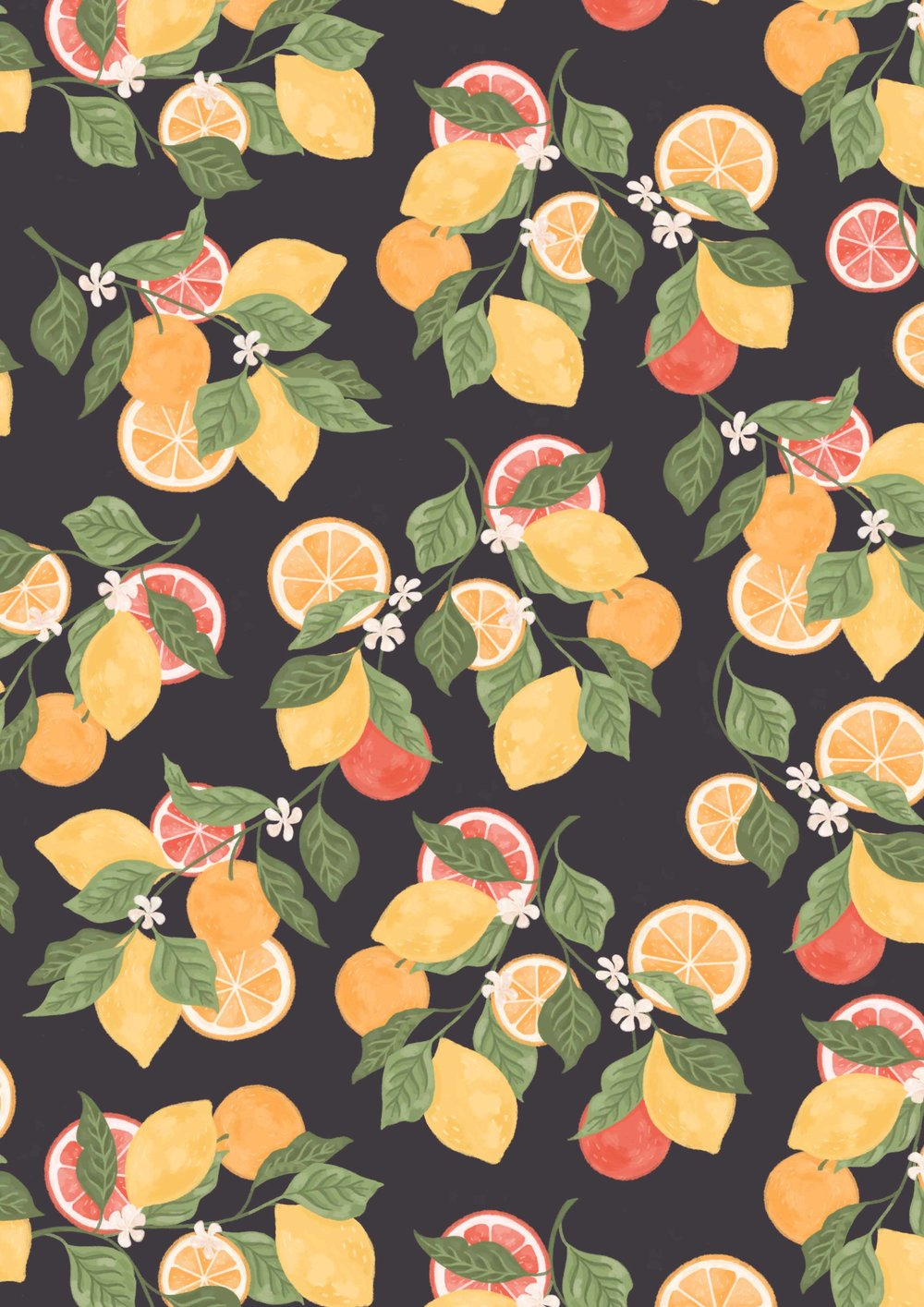 Illustrated pattern of citrus fruits and flowers, vibrant colours on a dark background.