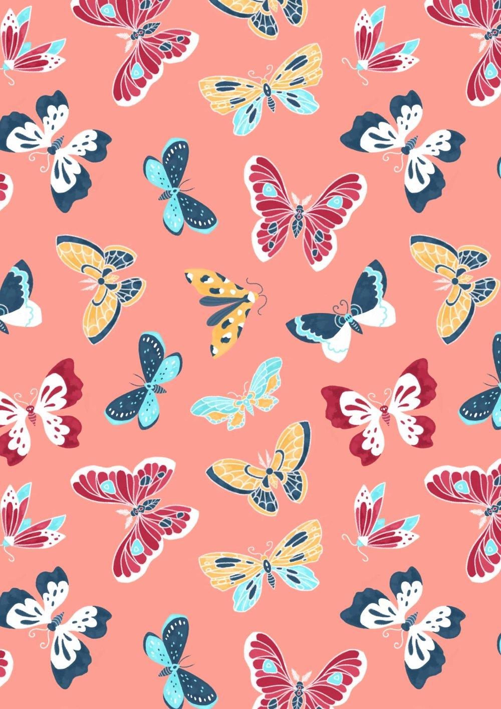 Vibrant butterfly pattern.