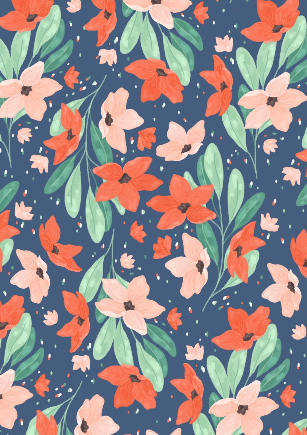 Floral pattern, bright colours.