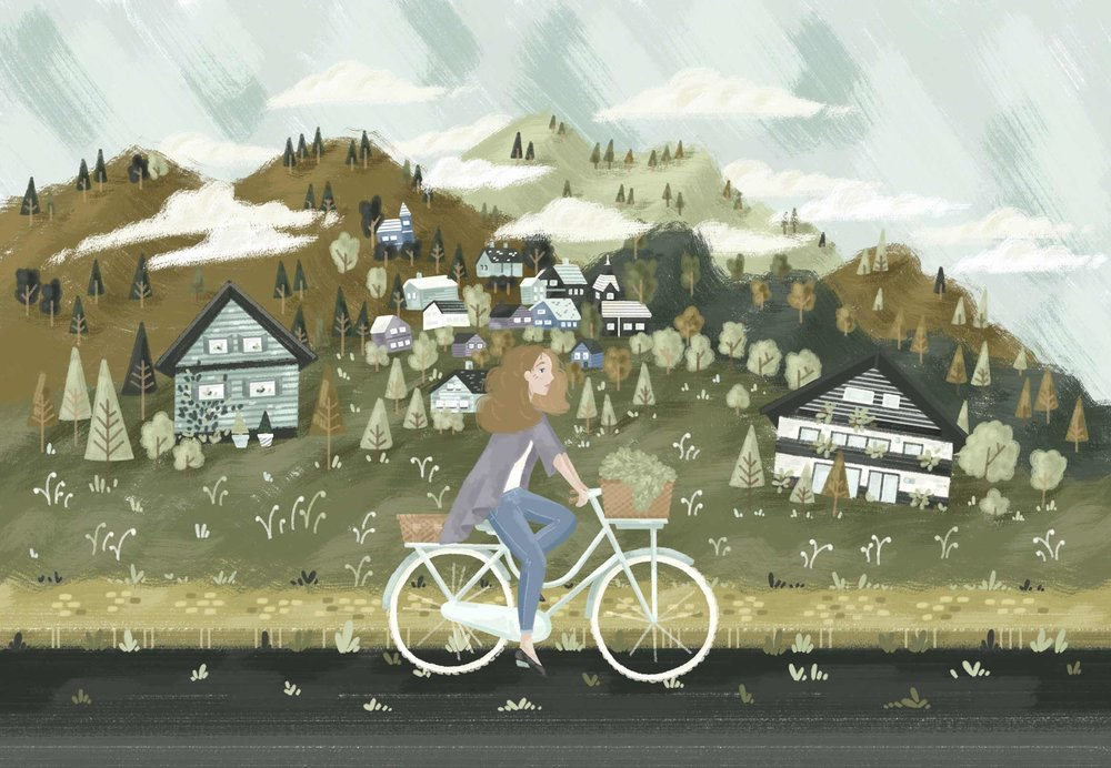 Girl cycling through scenic landscape, inspired by a trip to Slovenia.
