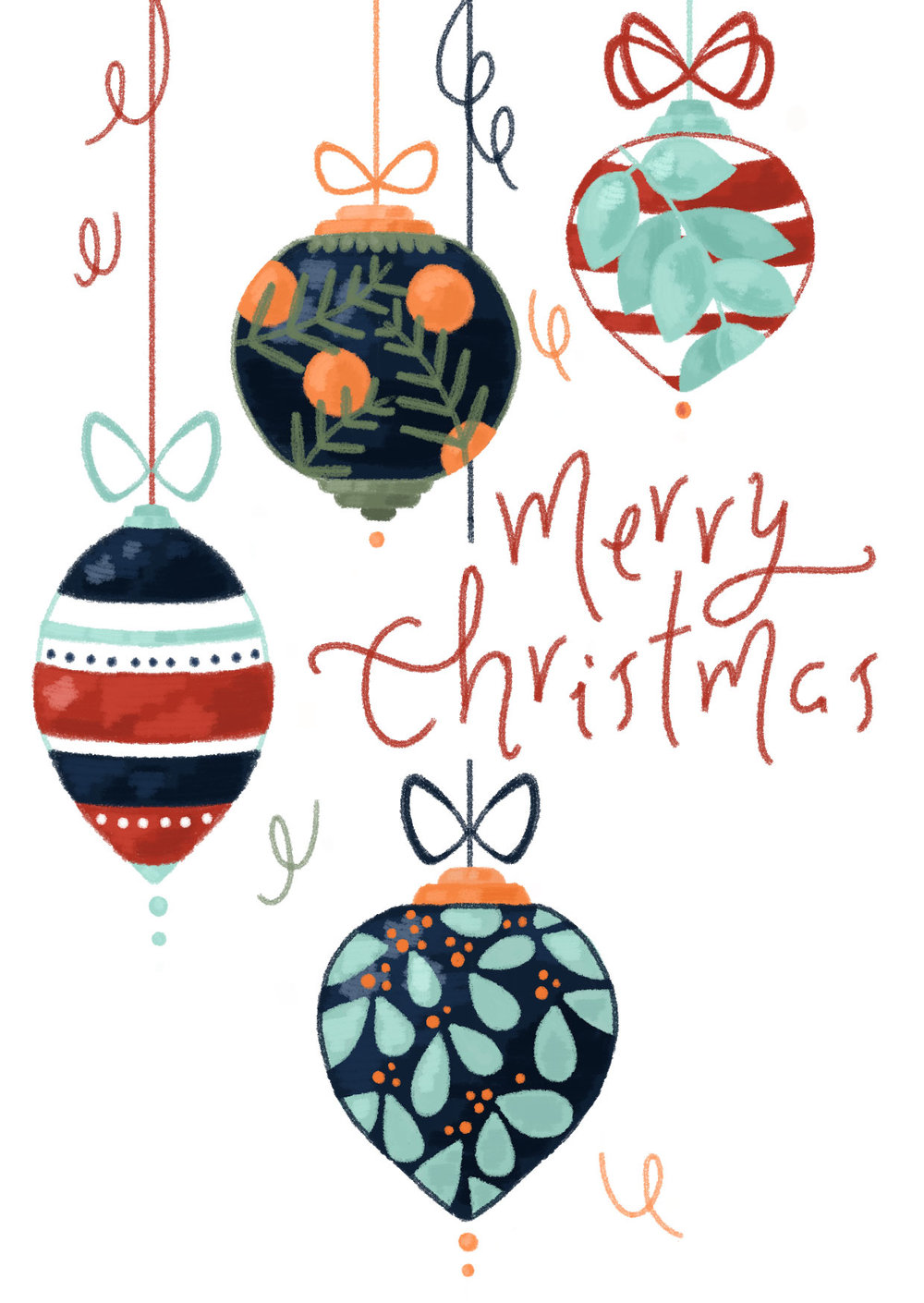 Christmas card design, illustrated baubles with hand lettered type.