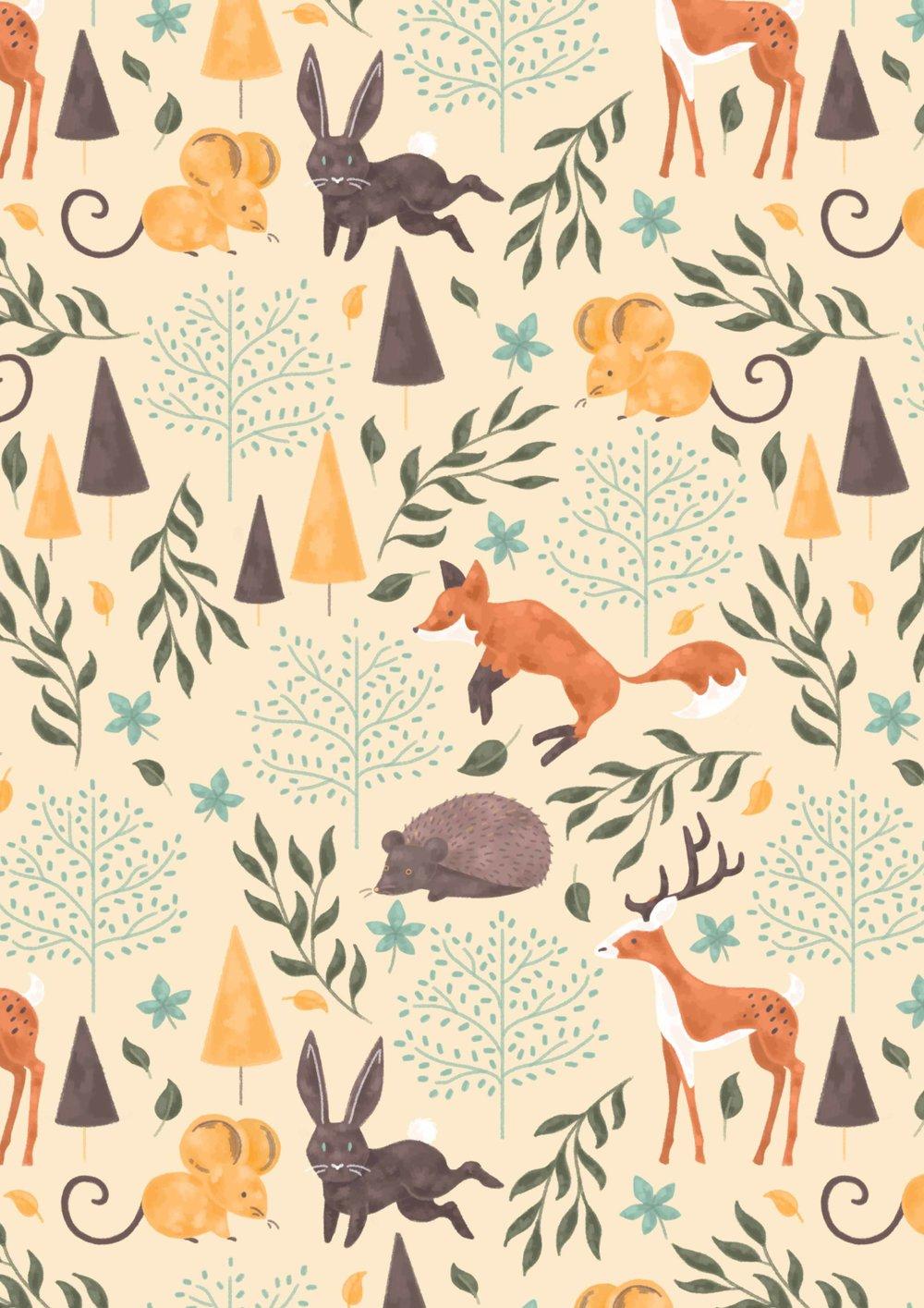 Illustrated pattern, woodland animals, fox, rabbits, deer, mouse, hedgehog.