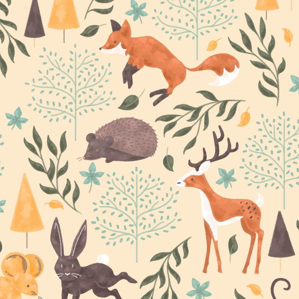 Woodland pattern close up.