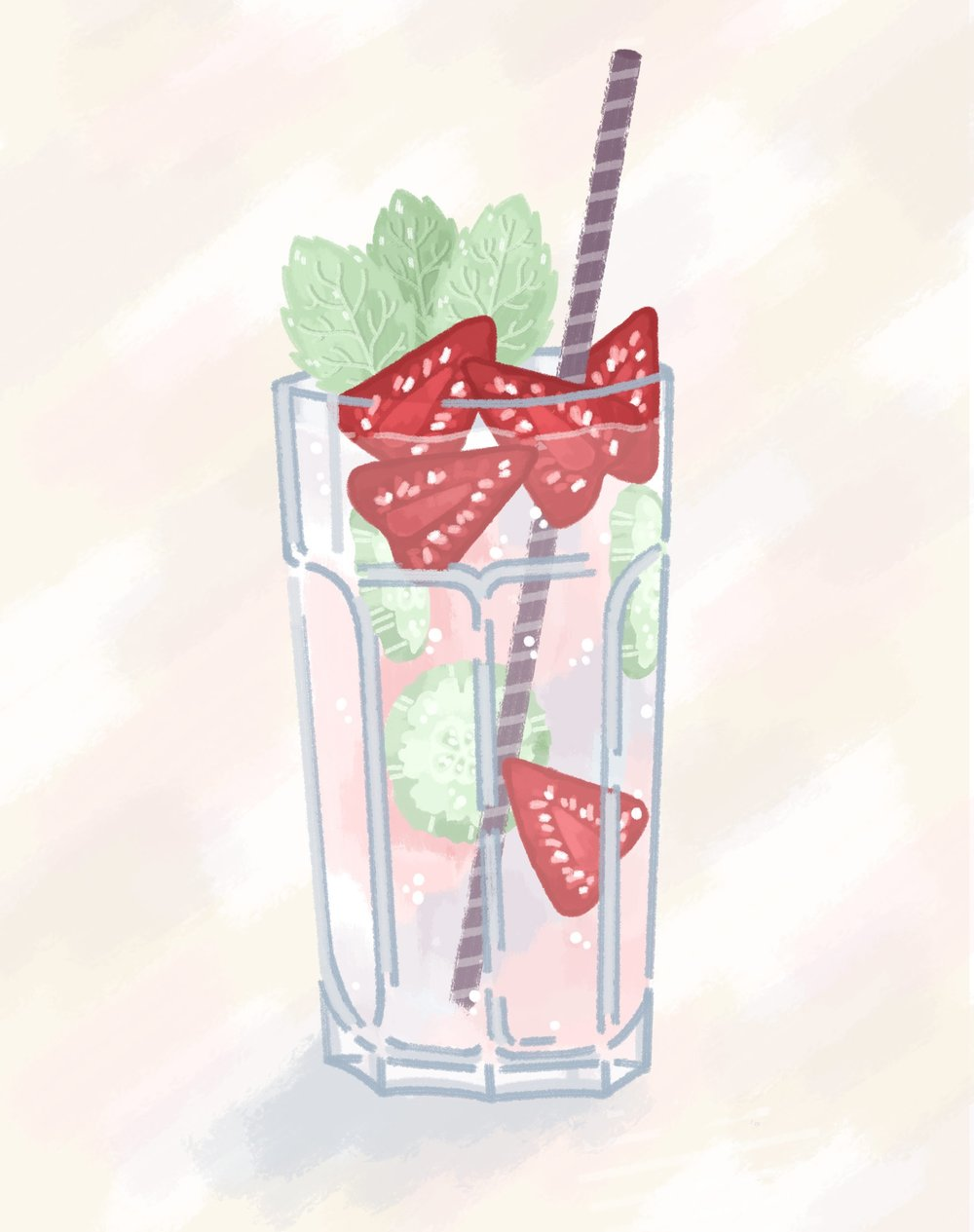 Pimms cocktail illustration.