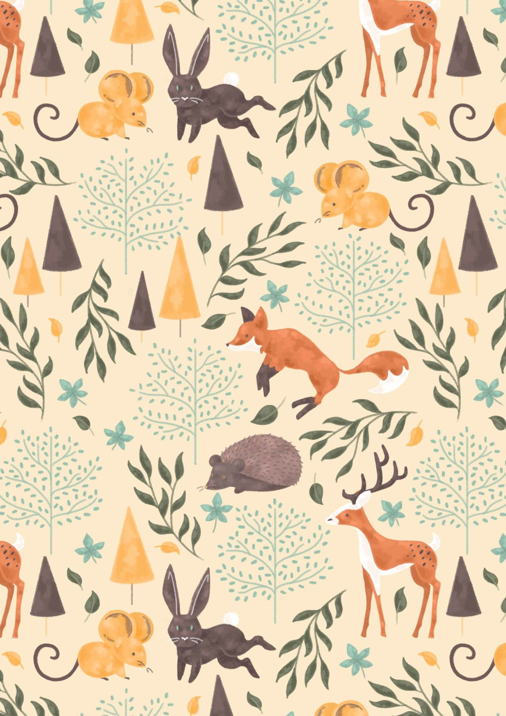 Illustrated pattern, woodland animals, fox, rabbits, deer, mouse, hedgehog.