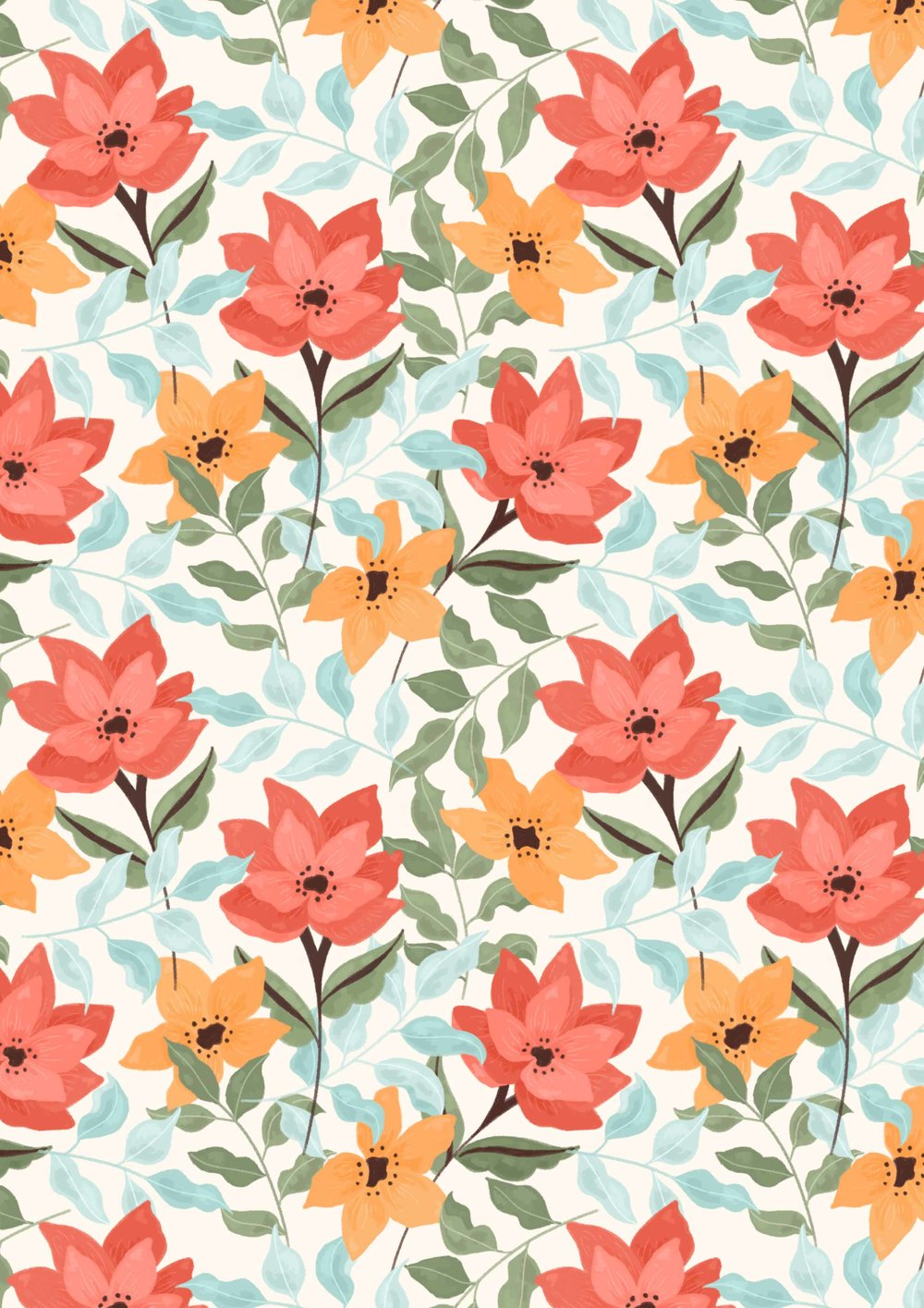 Illustrated floral pattern with red and orange flowers.