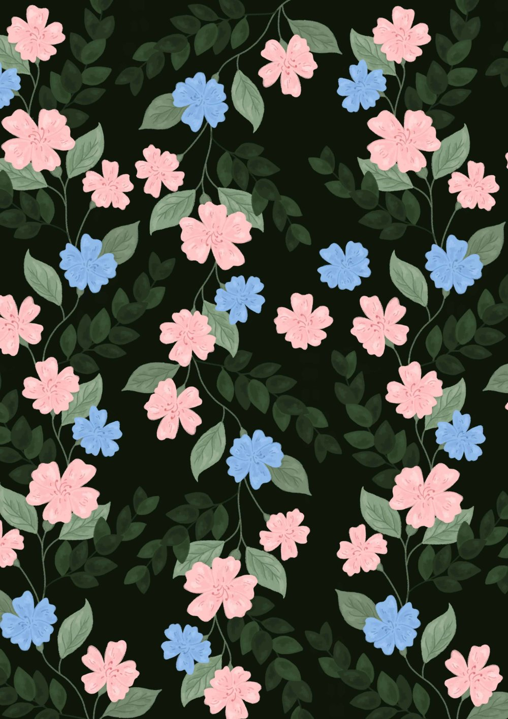 Forest green floral pattern with pink and blue flowers.