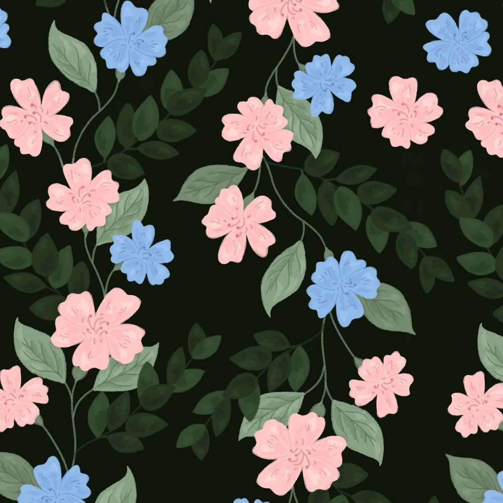 Forest green, blue and pink pattern close up.