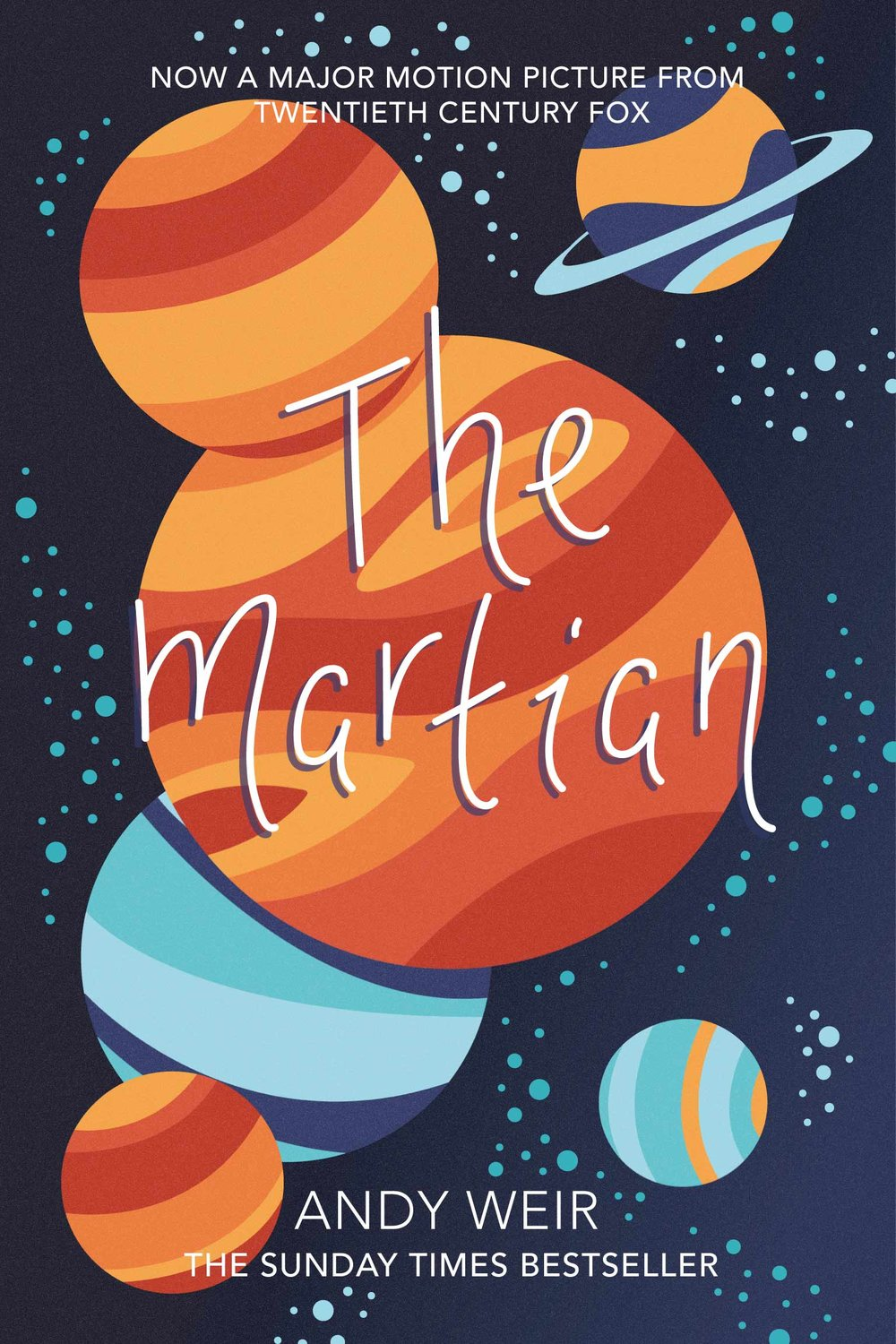 The Martian book design, planets and stars.