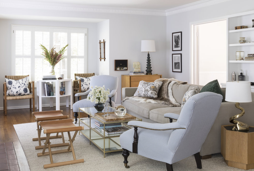 Living room in the home of Taylor Timmer by interior designer Stefani Stein at 325 N Kenter Ave, in Los Angeles, Bretwood California.