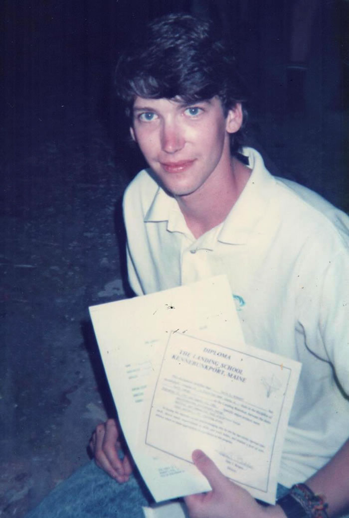 David Bohnhoff with his diploma when he graduated from The Landing School of Boatbuilding and Design in Kennebunkport Maine.