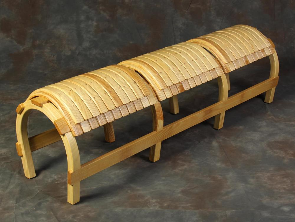 Brockport horseshoe bench finished work laminate bent ash wood commisssion for SUNY college at Brockport.jpg