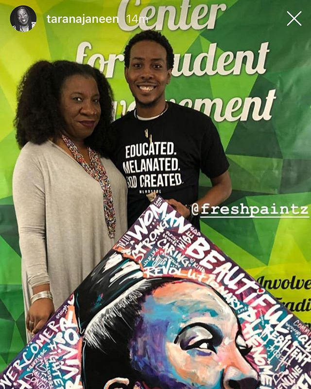 SWYD and follow these Creative WorldChangers now!!! World renowned artist and entrepreneur @freshpaintz and master organizer and founder of #metoo movement @taranajaneen ! Together, WE will creatively change the world! WE're Blessed 2 Bless... Let's Do It!!! 🤘🏿👑🎨🌍
