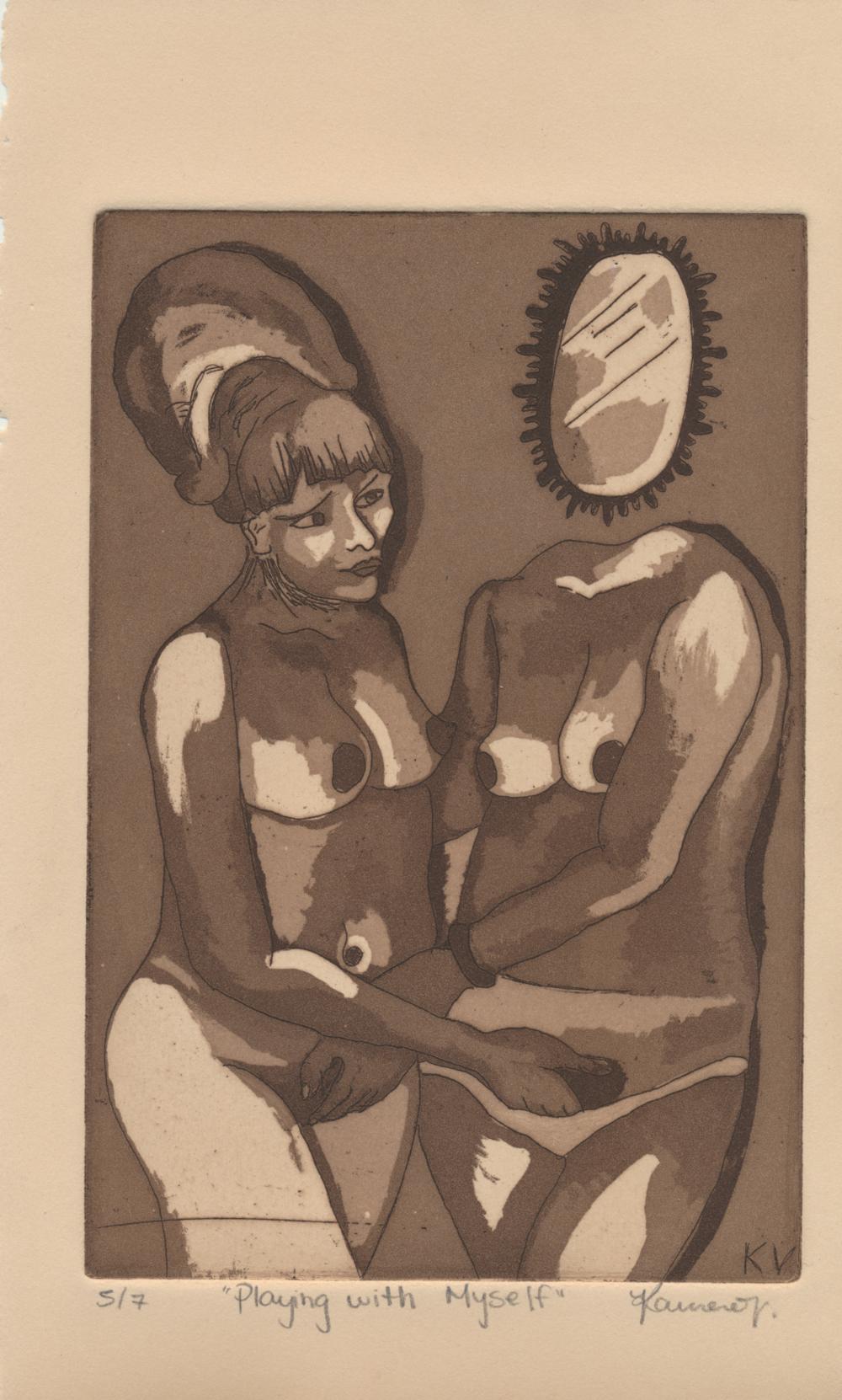 "An Intaglio Line EtchingKawena Vidigal entitled, ""Playing With Myself."""