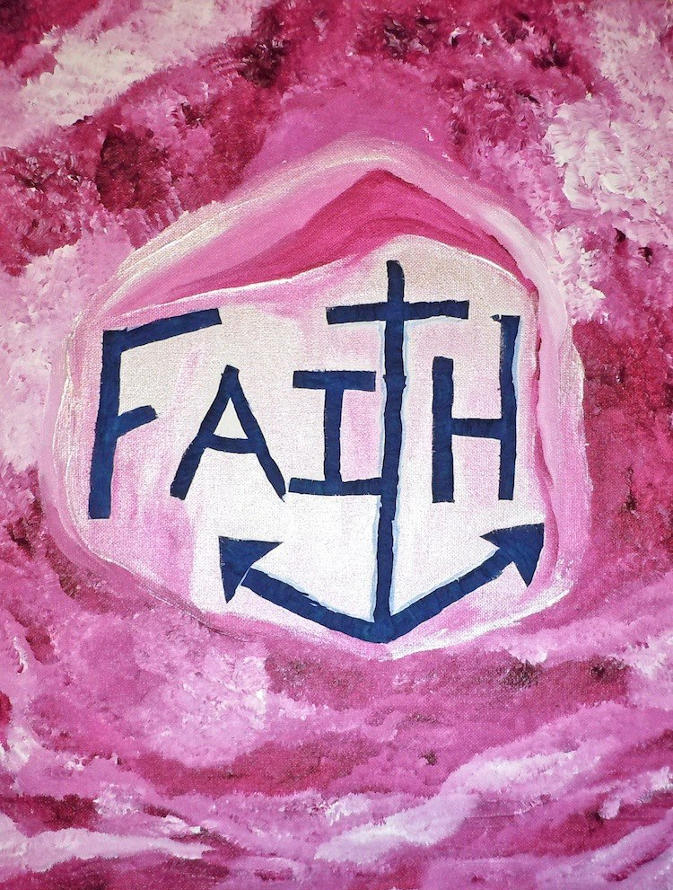 "Faith I was influenced by a song.  I was in a tremendous amount of physical pain and a patient for over two weeks at Memorial Sloan Kettering.  I had a tumor that was wrapping itself around my fallopian tube.  I had surgery and there was no sign of cancer.  I created this painting in my imagination.  At the time I was living close to the Hudson River and could see it from my window.  I began to think of boats and the anchor.  The boats would move with the current of the water but they did not capes because of the anchor. I began to think of God as my anchor and the people that anchor me and keep me grounded.  My ultimate anchor is God.  As a Christian The ""T"" serves as a cross and an anchor.  Strength and Courage were painted at the same time.  They are my combat words.  They are the words I look to when the MS or ESRD (End Stage Renal Disease) seem too overwhelming.    Voice was created from a suggestion my nephew made.  When I was younger I kept a lot of secrets and today I don't keep any.  Voice is about knowing who I am and saying it.  It is about not being quite when I am in trouble.  Voice is about being heard."