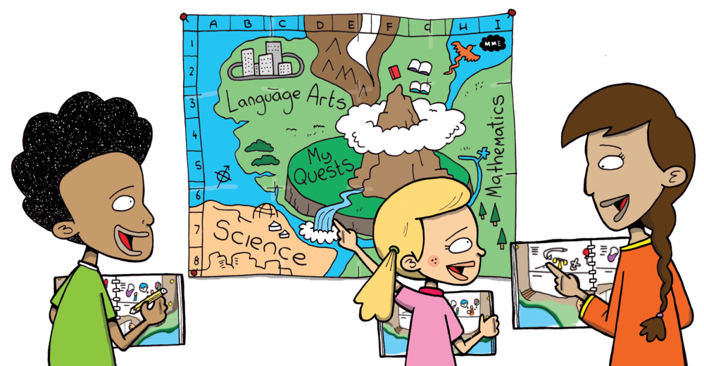 MME CoreAtlas cartoon of students exploring the map