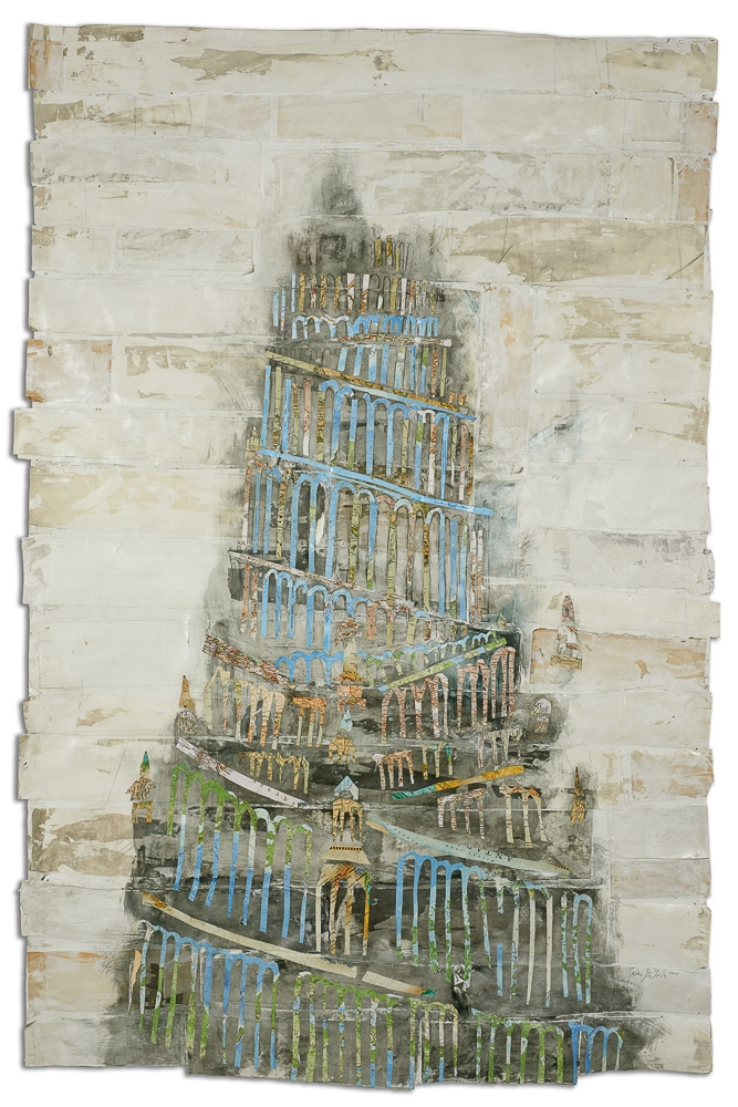 Babel,   2016 Watercolor with graphite on antique papers and maps 68 x 48 in.