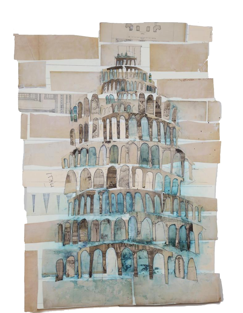 Italia  , 2017 Watercolor with graphite on antique papers and maps 45 x 32 in.