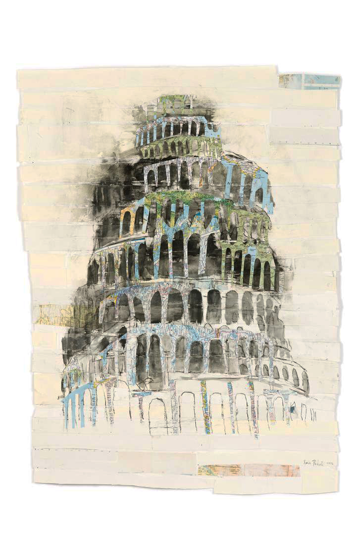 Babel  , 2017 Watercolor with graphite on antique papers and maps 48 x 35 in.