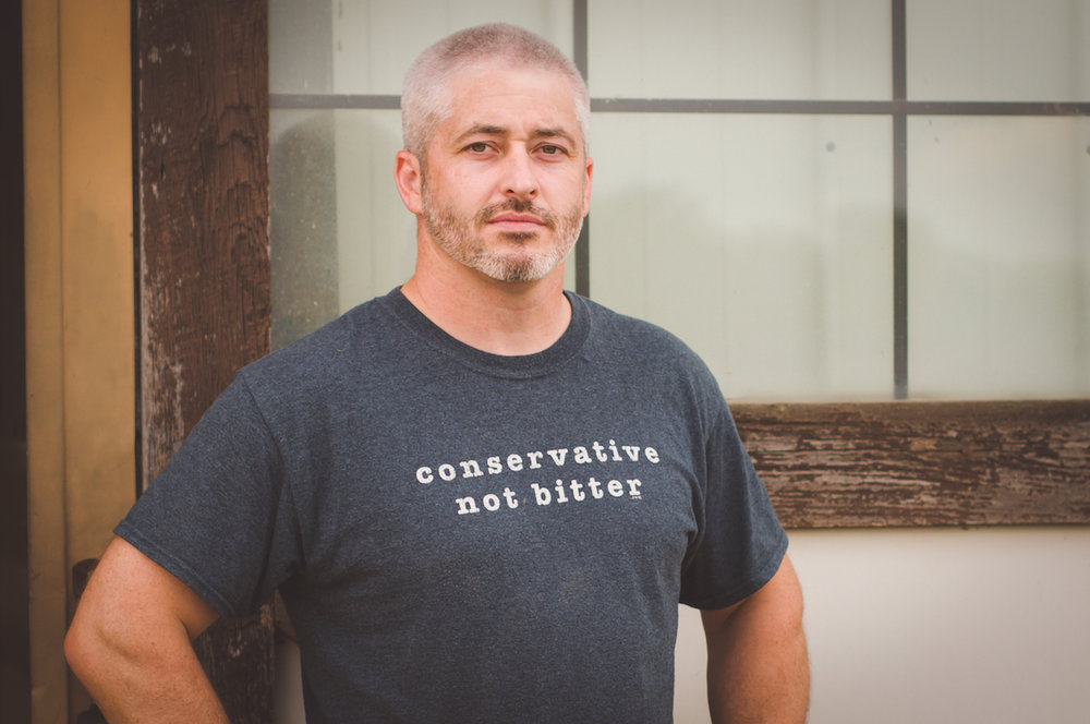 Get your conservative, not bitter tee today - and look like this bad dude! Not sure why he looks so mean here! Haha!