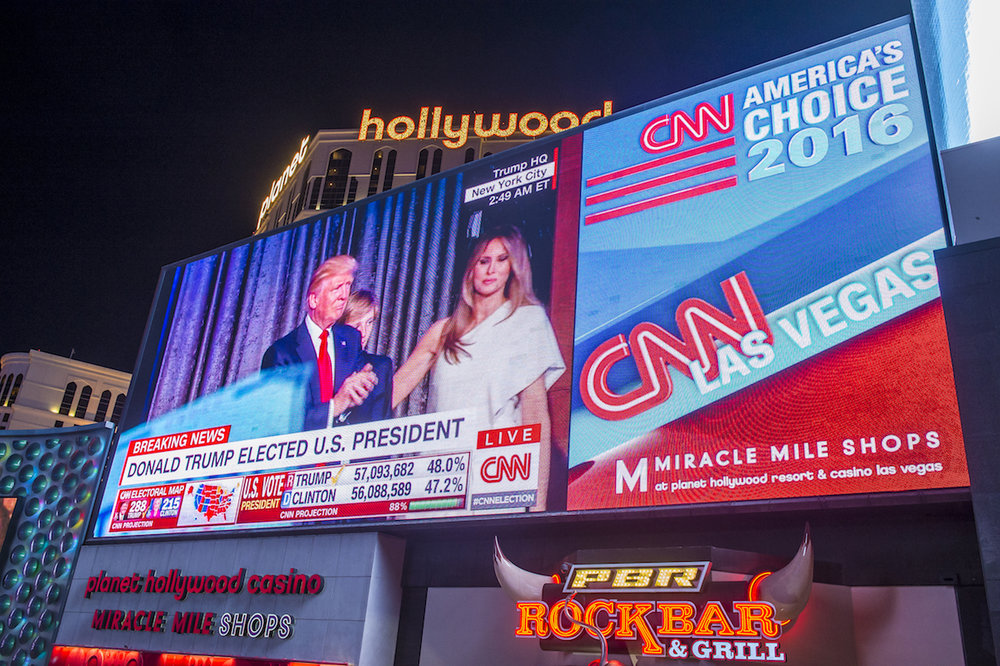A massive digital billboard in Las Vegas captures the moment CNN broke the news that Donald Trump would be America's 45th President.