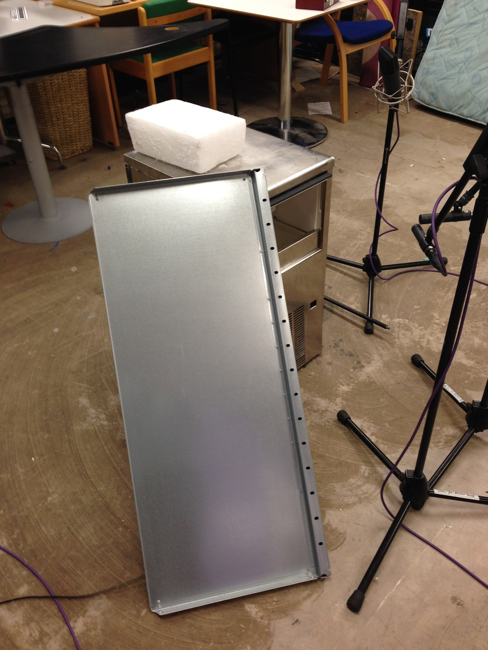 Messing around with an old ice machine and a shelf. A hidden contact mic is attached to the shelf's underside.