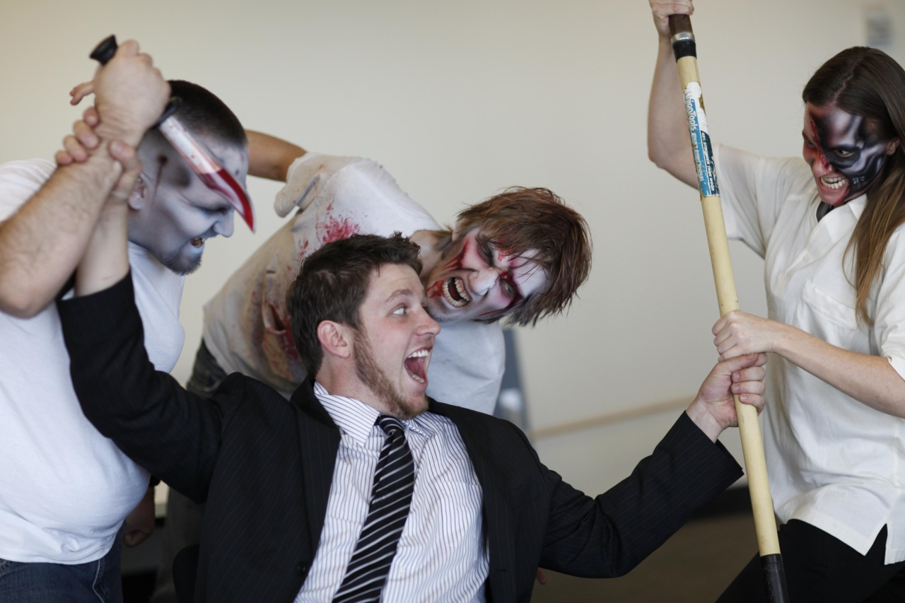 A scene from #occupywallstreetzombies! Watch it unfold at  https://www.facebook.com/occupywallstreetzombies  Part II just released.