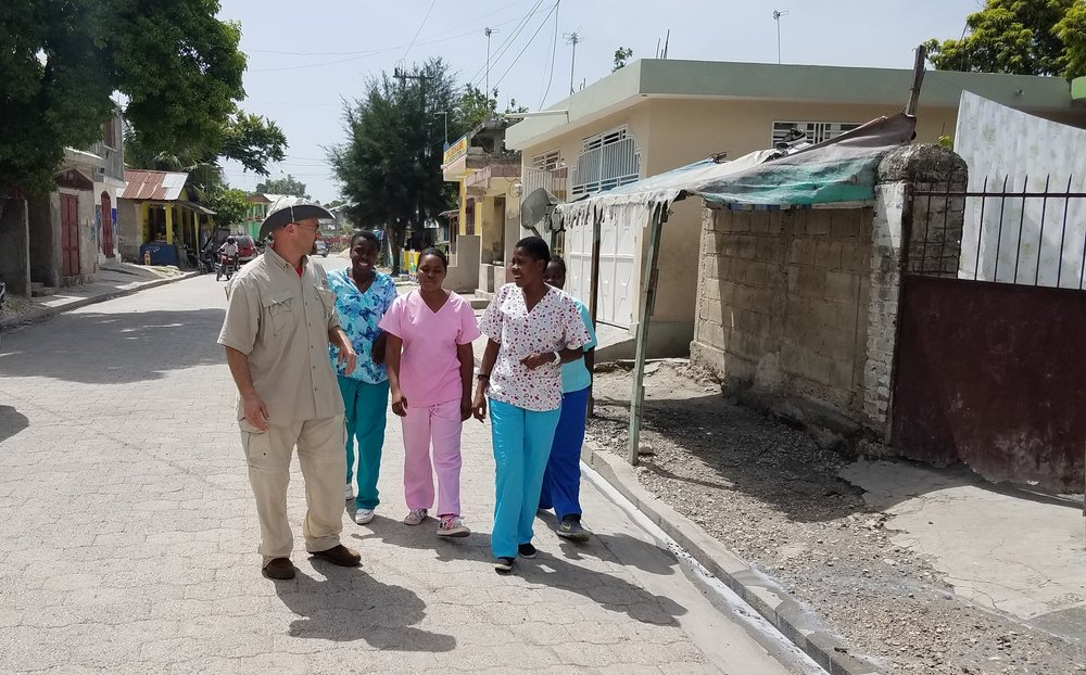 Nurses taking a walk through town
